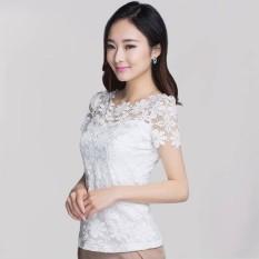 Beli Fashion 2016 Wanita Seksi Musim Panas Bunga Renda Tipis Pas Padat Blus Lengan Pendek Kemeja Wanita Kasual Elegan Atasan Tee Ukuran Blusas Plus Putih Nyicil