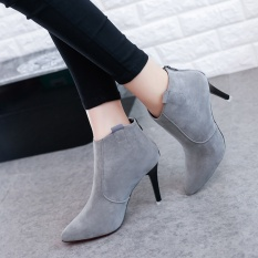 Diskon Fashion Ankle Boot Cowgirl Low Heel Tertutup Toe Casual Bootie Grey Akhir Tahun