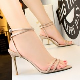 Harga Fashion Ankle Strap Bertumit Sandal High Heels Sandal Wanita Round Toe Stiletto Bertumit Tinggi Sepatu Peep Toe Partai Wanita Sepatu Suede Slingback Sandal Beige Paling Murah