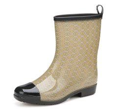 Fashion Antislip Hujan Sepatu Kerja Sepatu Bot Nelayan (Dril)