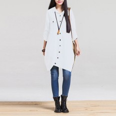 Modis Musim Gugur 2016 Panas Wanita Lengan Panjang Jual Blus Hem Tidak Teratur Kemeja Katun Polos Kasual Longgar Blusas Ukuran Lebih Atasan putih-Internasional