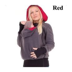 Fashion Baby Carrier Jaket Musim Dingin Pakaian Coat untuk Wanita Hamil Multifungsi Induk Kanguru Lengan Panjang Wanita Hooded Baju Lapis (merah) -Intl