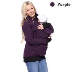 Fashion Baby Carrier Jaket Musim Dingin Pakaian Coat untuk Wanita Hamil Multifungsi Induk Kanguru Lengan Panjang Wanita Hooded Baju Lapis (violet) -Intl