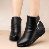 Beli Fashion Boots Women Winter Leather Keep Warm Plush Flat Ankle Boots Intl Online Murah