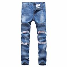Merek Fashion Pria jeans Ramping Biker Motor Jeans Katun Berkualitas Tinggi Nyaman Denim Man Skinny Bule-Internasional