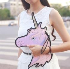 Modis Merek Unik Desain Laser Lucu Unicorn Berlian Bentuk Amplop Paket Clutch Tas Jinjing Dompet Dompet-Internasional