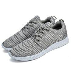 Kualitas Fashion Bernapas Menjalankan Sepatu Pasangan Sepatu Olahraga Besar Ukuran Sepatu Grey Intl Oem