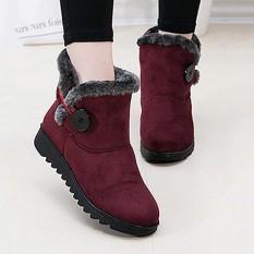 Fashion Gesper Nyaman Tetap Hangat Lembut Musim Dingin Pergelangan Kaki Sepatu Bot Salju untuk Wanita-Intl