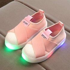 Fashion Anak Girls Boys Sol Karet Canvas Sport Sekolah Kasual Lampu LED Sepatu I131 Warna Merah Muda-Intl