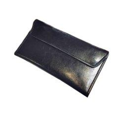 Toko Cover Fashion Closure Long Dompet Tipis Sederhana Clutch Business Handbags Hitam Termurah