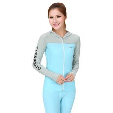 Desain Fashion Lengan Panjang Wanita Ritsleting Panjang Renang Berkerudung Jaket untuk Yoga/Surfing/Fitness/Air Olahraga UPF 50 + (Biru) -Intl