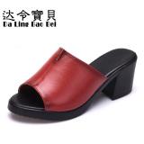 Promo Fashion Di Kulit Dengan Wanita Tahan Air Sepatu Sandal Kulit Merah Oem
