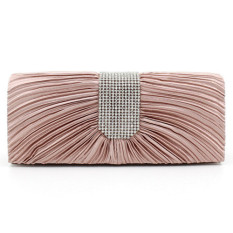 Penawaran Istimewa Fashion Diamond Luxury Satin Folds Evening Bag Beige Terbaru