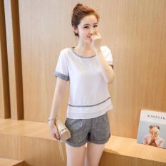 Fashion Flax Pakaian Dua Potong Edisi Han Baru Lengan Pendek T-shirt Cotton Linen Berkaki Lebar Celana Suit Female Peserta Di Musim Panas Set-Intl