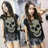Harga Fashion Flower Atasan Wanita Blouse Wanita Fashion Wanita Atasan Skull Rumbai Black Fashion Flower Original