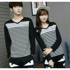 FASHION FLOWER-BAJU COUPLE  KAOS PASANGAN  KAOS COUPLE  COUPLE STRIPE BLACK DESAY V-NECK (COWOK DAN CEWEK)