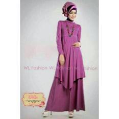 Harga Fashion Flower Baju Gamis Wanita Hijab Lily Ungu Pashmina Fashion Flower Baru