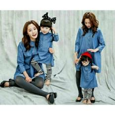 FASHION FLOWER-BAJU KELUARGA  FAMILY COUPLE  KEMEJA COUPLE  TUNIK COUPLE  FAMILY COUPLE TUNIK MOM AND KIDS HOLAND-BIRU (IBU DAN ANAK)