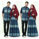 Beli Fashion Flower Baju Pasangan Couple Busana Muslim Batik Misua Navy Cowok Dan Cewek Secara Angsuran