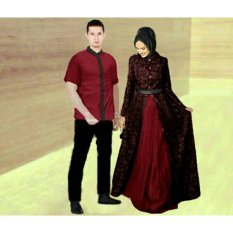 FASHION FLOWER-BAJU PASANGAN  BAJU COUPLE  BUSANA MUSLIM  MUSLIM WEAR  FASHION COUPLE  BAJU COUPLE BUSANA MUSLIM ZAHIRA-MAROON (COWOK DAN CEWEK)