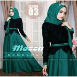Jual Fashion Flower Busana Muslim Wanita Mozza Green Black Pashmina Murah Indonesia
