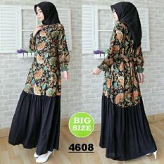 FASHION FLOWER-DRESS JUMBO | MAXI JUMBO | MUSLIM WEAR | DRESS WANITA | BUSANA MUSLIM | FASHION WANITA | PAKAIAN WANITA | BIG SIZE | DRESS MAXI WANITA NURIDA FIT XXL (LD 110CM,PJG 138CM)