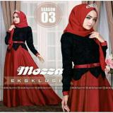 Harga Fashion Flower Busana Muslim Wanita New Mozza Red Black Pashmina Asli Fashion Flower