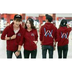 FASHION FLOWER-JAKET PASANGAN  BAJU COUPLE  JAKET COUPLE  FASHION JAKET  JAKET COUPLE HOODIE  JAKET COUPLE HOODIE ALAN WALKER-MAROON (COWOK DAN CEWEK)