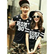 Diskon Fashion Flower Baju Couple Kaos Pasangan Kaos Couple Home Boy Black Cowok Dan Cewek Branded