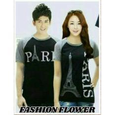 Harga Fashion Flower Baju Couple Kaos Pasangan Kaos Couple Kimono Paris Hitam Abu Cowok Dan Cewek Origin