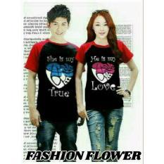 Obral Fashion Flower Baju Couple Kaos Pasangan Kaos Couple Kimono True Love Black Red Cowok Dan Cewek Murah