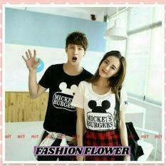 Fashion Flower Baju Couple Kaos Pasangan Kaos Couple Mouse Burgers Black White Cowok Dan Cewek Murah