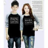 Jual Beli Fashion Flower Baju Couple Kaos Pasangan Kaos Couple Papa Ganteng Mama Cantik Lengan 3 4 Black Grey Cowok Dan Cewek Indonesia