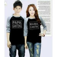 Spesifikasi Fashion Flower Baju Couple Kaos Pasangan Kaos Couple Papa Ganteng Mama Cantik Lengan 3 4 Black Grey Cowok Dan Cewek Lengkap