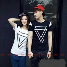 Harga Fashion Flower Baju Couple Kaos Pasangan Baju Couple Double Triangle Black White Cowok Dan Cewek Yg Bagus