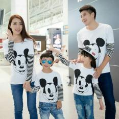 FASHION FLOWER-BAJU KELUARGA  KAOS FAMILY  FAMILY COUPLE  MOUSE WHITE KOMBINASI SALUR LP 2 ANAK (AYAH.IBU.ANAK2)