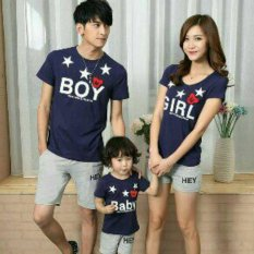 FASHION FLOWER-BAJU KELUARGA | KAOS FAMILY | KAOS COUPLE | BAJU KEMBARAN | FASHION COUPLE | KAOS FAMILY COUPLE BOY BABY GIRL-NAVY (AYAH.IBU.ANAK)
