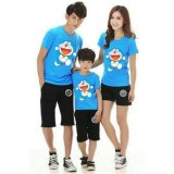 Promo Fashion Flower Baju Keluarga Family Couple Happy Dora 1 Anak Biru Ayah Ibu Anak Murah