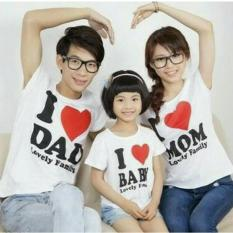 Spesifikasi Fashion Flower Baju Keluarga Family Couple Kaos Family Couple Love Dad Mom 1 Anak Putih Ayah Ibu Anak Dan Harga