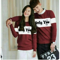 FASHION FLOWER-KAOS PASANGAN  BAJU COUPLE  KAOS COUPLE  COUPLE FASHION  KAOS COUPLE ONLY YOU LP-MAROON (COWOK DAN CEWEK)