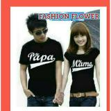 Diskon Fashion Flower Kaos Pasangan Kaos Couple Papa Mama Hitam
