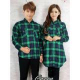 Cara Beli Fashion Flower Kemeja Pasangan Kemeja Couple Couple Kemeja Dress Kotak Flanel Green Cowok Dan Cewek