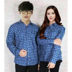 Jual Fashion Flower Kemeja Pasangan Kemeja Couple Couple Kotak Kotak Flanel Biru Cowok Dan Cewek Original