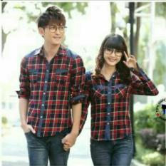 Jual Fashion Flower Kemeja Pasangan Kemeja Couple Kotak Redbox Kombi Denim Merah Cowok Dan Cewek Online