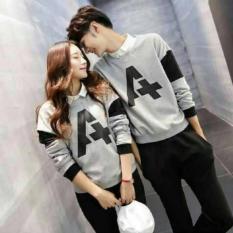 Jual Fashion Flower Sweater Pasangan Couple A Lp Abu Cowok Dan Cewek Branded Original