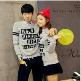 Harga Fashion Flower Sweater Pasangan Couple Hip Hop Lp Abu Cowok Dan Cewek Satu Set