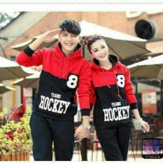 Fashion Flower Sweater Pasangan Couple Hoodie Hockey 8 Red Black Cowok Dan Cewek Original