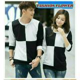 Jual Beli Fashion Flower Sweater Pasangan Couple Square Black White Lp Cowok Dan Cewek