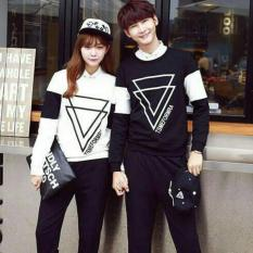 Tips Beli Fashion Flower Sweater Pasangan Sweater Couple Triangle Lp Black White Cowok Dan Cewek