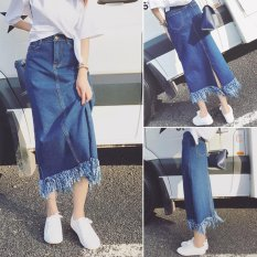 Review Fashion Fringed Denim Rok Longgar Yang Berpinggang Tinggi A Line Rok Gaun Maksi Internasional Di Indonesia